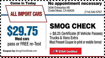 CostaMesa Smog Coupon